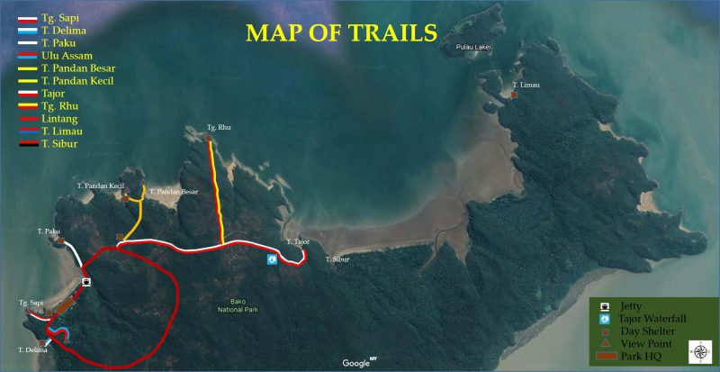 Bako National Park - Map trail 2